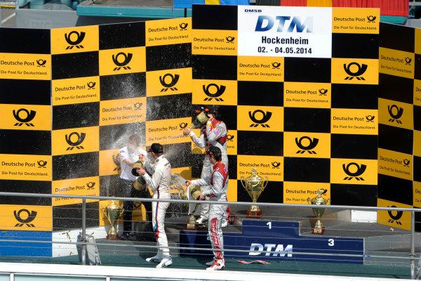 2014 DTM Championship Round 1 - Hockenheim, Germany 3rd - 4th May 2014  Podium, Marco Wittmann (GER) BMW Team RMG, BMW M4 DTM, Mattias Ekström (SWE) Audi Sport Team Abt Sportsline, Audi RS 5 DTM, Adrien Tambay (FRA) Audi Sport Team Abt, Audi RS 5 DTM, World Copyright: XPB Images / LAT Photographic  ref: Digital Image 3083276_HiRes