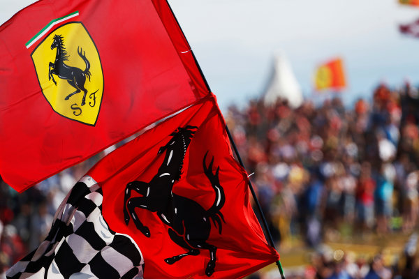 Hungaroring, Budapest, Hungary. Sunday 26 July 2015. Ferrari flags. World Copyright: Sam Bloxham/LAT Photographic ref: Digital Image _SBL8312