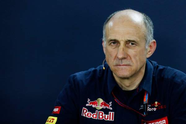 Interlagos, Sao Paulo, Brazil. Friday 13 November 2015. Franz Tost, Team Principal, Toro Rosso, in the Team Principals Press Conference. World Copyright: Alastair Staley/LAT Photographic ref: Digital Image _79P3734