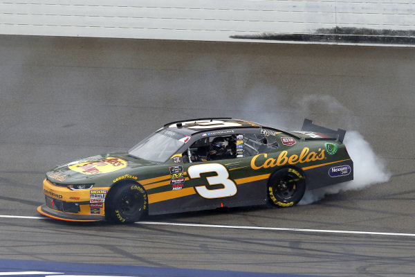 #3: Austin Dillon, Richard Childress Racing, Chevrolet Camaro Bass Pro Shops / Cabela's celebrates his win with a burnout
