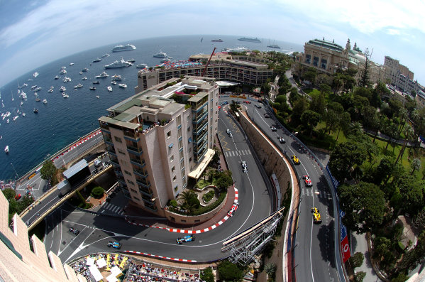 2005 Monaco Grand Prix - Sunday Race Monaco, Monte Carlo. 22nd May 2005 A scenic view off the start of the race, as Kimi Raikkonen, McLaren Mercedes MP4-20, leads the field round. Atmosphere World Copyright: Steve Etherington/LAT Photographic ref: 48mb Hi Res Digital Image
