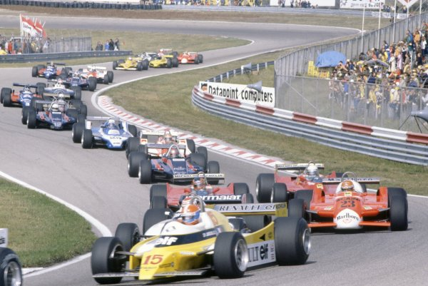 1980 Dutch Grand Prix.Zandvoort, Holland. 29-31 August 1980.Jean-Pierre Jabouille (Renault RE20) leads Nelson Piquet (Brabham BT49-Ford Cosworth, hidden), Bruno Giacomelli (Alfa Romeo 179B), Gilles Villeneuve, Jody Scheckter (both Ferrari 312T5), Mario Andretti (Lotus 81-Ford Cosworth), John Watson (McLaren M29C-Ford Cosworth), Didier Pironi (Ligier JS11/15-Ford Cosworth), Elio de Angelis (Lotus 81-Ford Cosworth), Riccardo Patrese (Arrows A3-Ford Cosworth), Jean-Pierre Jarier (Tyrrell 010-Ford Cosworth), Eddie Cheever (Osella FA1-Ford Cosworth) and Nigel Mansell (Lotus 81B-Ford Cosworth) at the start.World Copyright: LAT PhotographicRef: 35mm transparency 80HOL04