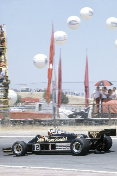 1981 Spanish Grand Prix.Jarama, Spain. 19-21 June 1981.Nigel Mansell (Lotus 87-Ford Cosworth), 6th position.World Copyright: LAT PhotographicRef: 35mm transparency 81ESP28