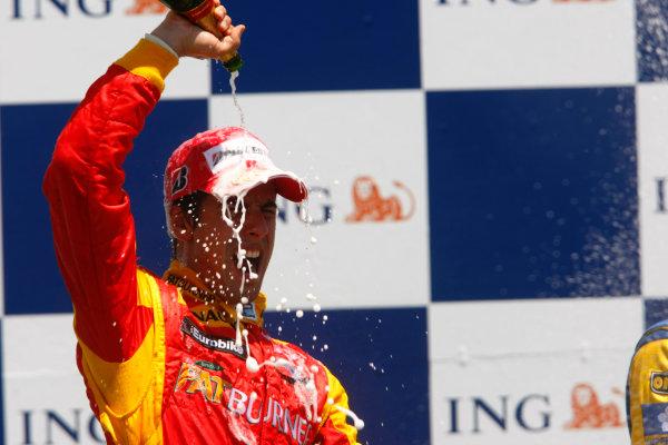 Sunday Race. 7th June 2009. Lucas Di Grassi (BRA, Fat Burner Racing Engineering) celebrates his victory on the podium. World Copyright: Charles Coates/ GP2 Series Media Service.Ref: _26Y5698 jpg