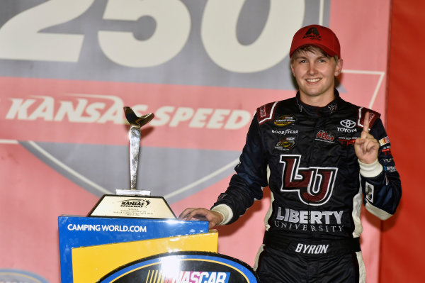 5-6 May, 2016, Kansas City, Kansas USA William Byron celebrates his win in Victory Lane ? 2016, Nigel Kinrade LAT Photo USA