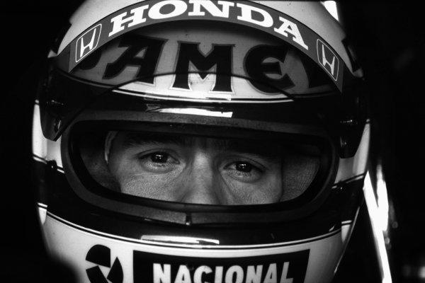 1987 Formula One World Championship. Ayrton Senna, Lotus 99T, portrait. World Copyright: LAT Photographic.  Ref:  SENNA01