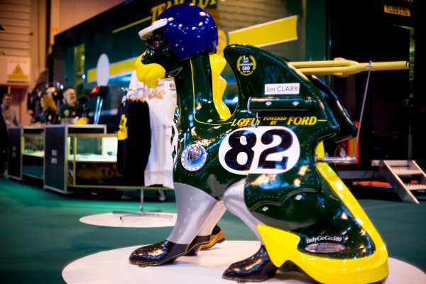 Autosport International Exhibition.  National Exhibition Centre, Birmingham, UK. Thursday 14 January 2016.  An ornament at the Classic Team Lotus stand. World Copyright: Sam Bloxham/LAT Photographic. ref: Digital Image _SBL6123