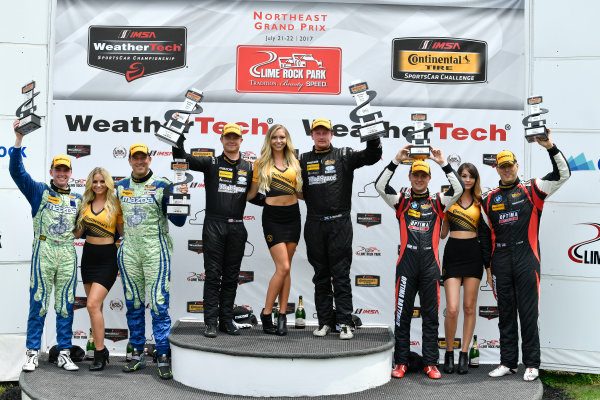 IMSA Continental Tire SportsCar Challenge Lime Rock Park 120 Lime Rock Park, Lakeville, CT USA Saturday 22 July 2017  27, Mazda, Mazda MX-5, ST, Britt Casey Jr, Matt Fassnacht, 25, Mazda, Mazda MX-5, ST, Chad McCumbee, Stevan McAleer, 84, BMW, BMW 328i, ST, James Clay, Tyler Cooke World Copyright: Richard Dole LAT Images ref: Digital Image RD_LRP_17_01188