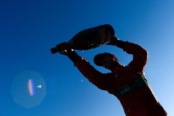2016/2017 FIA Formula E Championship. Round 11 - Montreal ePrix, Canada Saturday 29 July 2017. Lucas Di Grassi (BRA), ABT Schaeffler Audi Sport, Spark-Abt Sportsline, ABT Schaeffler FE02, sprays the champagne on the podium. Photo: Patrik Lundin/LAT/Formula E ref: Digital Image PL2_0672 copy