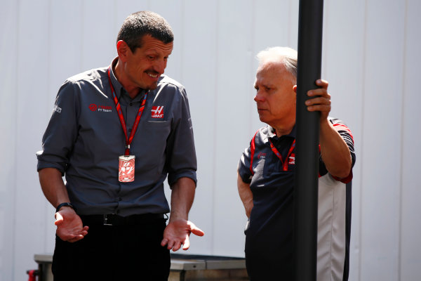 Circuit Gilles Villeneuve, Montreal, Canada. Sunday 11 June 2017. Guenther Steiner, Team Principal, Haas F1, and Gene Haas, Owner and Founder, Haas F1.  World Copyright: Andy Hone/LAT Images ref: Digital Image _ONY5480