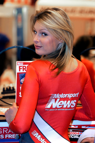 2005 Autosport International ExhibitionNEC, Birmingham, UK. 13th - 16th January.Motorsport News Girl.World Copyright: Glenn Dunbar/LAT Photographicref: Digital Image Only