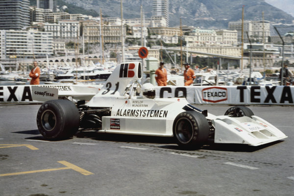 Monte Carlo, Monaco. 11 May 1975.Roelof Wunderink, Ensign N174-Ford, did not qualify, action.World Copyright: LAT PhotographicRef: 35mm transparency