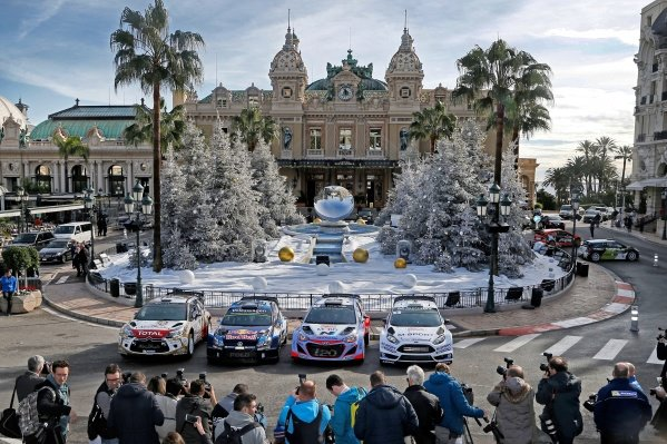 www.sutton-images.com -  Citroen DS3 WRC, Volkswagen Polo R WRC, Hyundai i20 WRC and Ford Fiesta RS WRC at the FIA World Rally Championship, Rd1, Rally Monte Carlo, Preparations and Shakedown, Monte Carlo, 22 January 2015. Photo Sutton Images