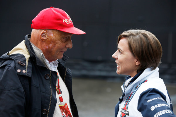 Spa-Francorchamps, Spa, Belgium. Saturday 23 August 2014. Niki Lauda, Non-Executive Chairman, Mercedes AMG, with Claire Williams, Deputy Team Principal, Williams F1. World Copyright: Charles Coates/LAT Photographic. ref: Digital Image _J5R1340