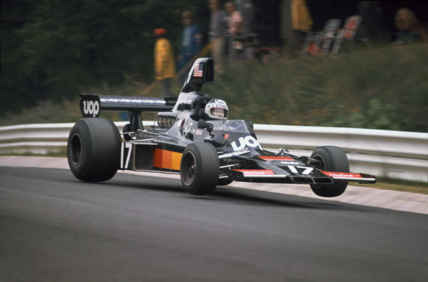 1975 German Grand Prix.  Nurburgring, Germany. 1-3rd August 1975.  Jean-Pierre Jarier (Shadow DN5 Ford), retired, action.  Ref: 75GER15. World copyright: LAT Photographic