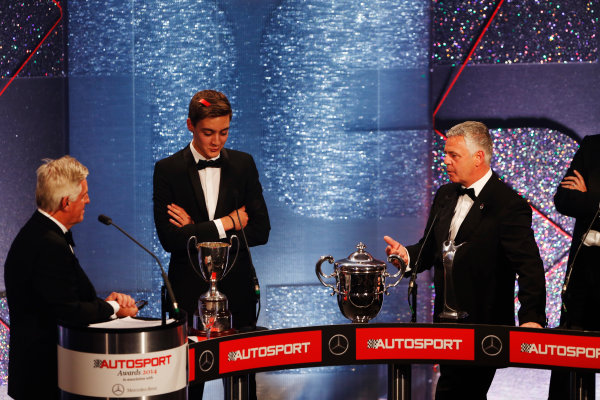 2014 Autosport Awards. Grosvenor House Hotel, Park Lane, London. Sunday 7 December 2014. George Russell wins the 2014 McLaren AUTOSPORT BRDC Award. World Copyright: Sam Bloxham/LAT Photographic. ref: Digital Image _14P3983