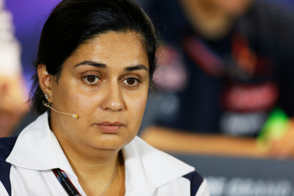 Marina Bay Circuit, Singapore. Friday 18 September 2015. Monisha Kaltenborn, Team Principal and CEO, Sauber, in the team principals Press Conference. World Copyright: Alastair Staley/LAT Photographic ref: Digital Image _79P0776