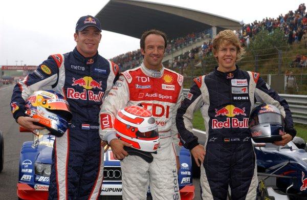 2006 DTM Championship.Round 7, Circuit Park Zandvoort. 1st - 3rd September 2006.The Red Bull demo: ( left) Robert Doornbos (NED), Red Bull Racing F1 driver; (middle) Marco Werner, Audi driver; (right) Sebastian Vettel (GER), ASM Formula 3, Dallara F305 MercedesWorld Copyright: Pieters/xpb cc/LATref: Digital Image Only