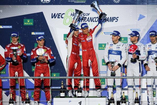 2017 FIA World Endurance Championship. Spa-Francorchamps, Belgium, 4th-6th May 2017. GT Pro Podium - #71 AF Corse Ferrari 488 GTE: Davide Rigon, Sam Bird win  World Copyright: JEP/LAT Images