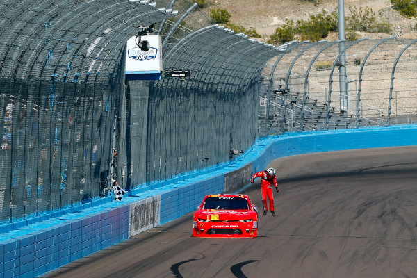 2017 NASCAR Xfinity Series DC Solar 200 Phoenix International Raceway, Avondale, AZ USA Saturday 18 March 2017 Justin Allgaier celebrates his win  World Copyright: Russell LaBounty/LAT Images ref: Digital Image 17PHX1rl_3203