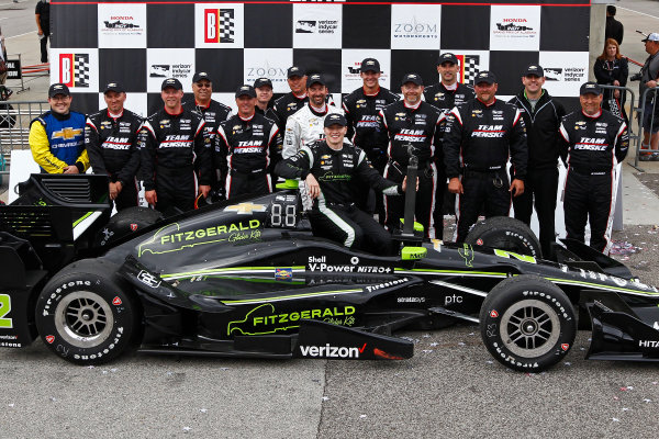 2017 Verizon IndyCar Series Honda Indy Grand Prix of Alabama Barber Motorsports Park, Birmingham, AL USA Sunday 23 April 2017 Josef Newgarden, Team Penske Chevrolet celebrates in victory lane with his crew World Copyright: Phillip Abbott LAT Images ref: Digital Image abbott_barber_0417_6654