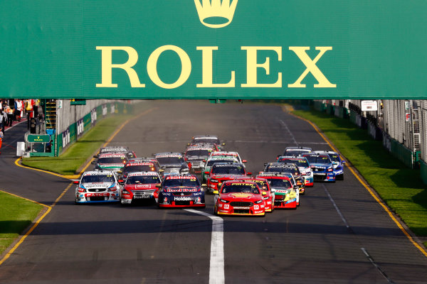 Australian Supercars Series Albert Park, Melbourne, Australia. Friday 24 March 2017. Race 2. Fabian Coulthard, No.12 Ford Falcon FG-X, Shell V-Power Racing Team, leads Scott McLaughlin, No.17 Ford Falcon FG-X, Shell V-Power Racing Team, Jamie Whincup, No.88 Holden Commodore VF, Red Bull Holden Racing Team, and the rest of the field at the start. World Copyright: Zak Mauger/LAT Images ref: Digital Image _56I5785