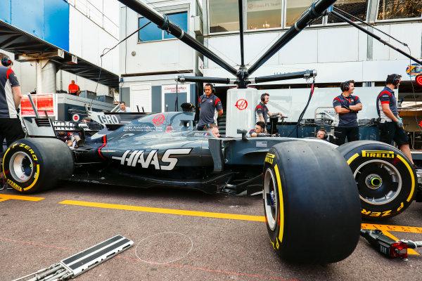 Monte Carlo, Monaco. Wednesday 24 May 2017. Romain Grosjean's Haas VF-17 in the pits. World Copyright: Sam Bloxham/LAT Images ref: Digital Image _W6I0557