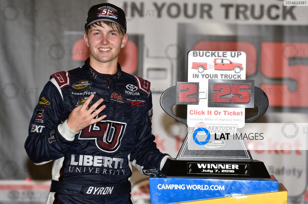 6-7 July, 2016, Sparta, Kentucky USA William Byron celebrates his win in Victory Lane ?2016, Nigel Kinrade LAT Photo USA