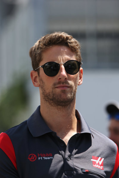 Baku City Circuit, Baku, Azerbaijan. Friday 23 June 2017. Romain Grosjean, Haas F1.  World Copyright: Charles Coates/LAT Images ref: Digital Image DJ5R1659