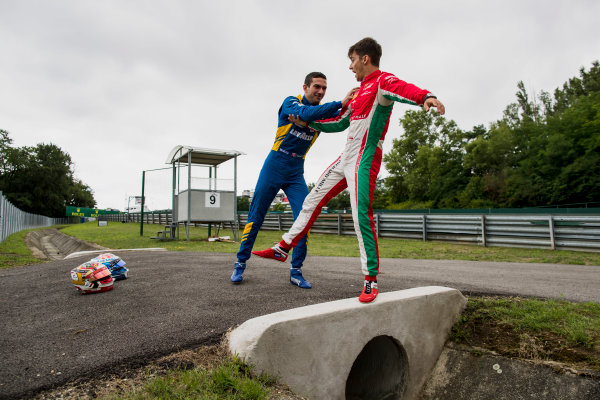 2017 FIA Formula 2 Round 7. Hungaroring, Budapest, Hungary. Thursday 27 July 2017. Charles Leclerc (MCO, PREMA Racing) and Nicholas Latifi (CAN, DAMS).  Photo: Zak Mauger/FIA Formula 2. ref: Digital Image _56I0209