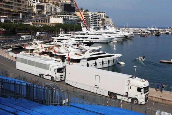 Freight arrives by truck. Formula One World Championship, Rd 6, Monaco Grand Prix Preparations, Monte-Carlo, Monaco, 10 -11 May 2010.