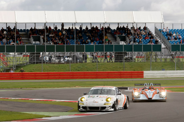 Silverstone, England. 24th - 26th August 2012. Rd 4.Joel Camathias (CHE)/Markus Palttala (FIN)/Paul Daniels (GBR) JWA Avila Porsche 911 RSR.World Copyright: Ebrey/LAT Photographic.