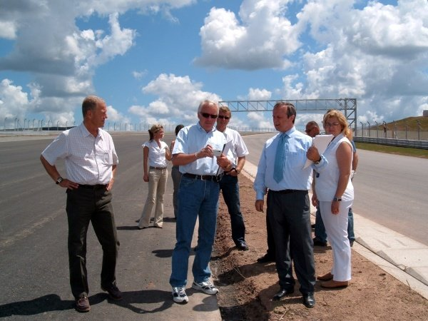 Charlie Whiting (GBR) FIA Race Director and Safety Delegate inspects the brand new Istanbul Park circuit 60 days before it's first F1 race. He is accompanied by Herman Tilke (GER) circuit architect, MŸmtaz Tahinciolu (TUR) President of the Turkish Automobile and Motor Sports Federation and officials of Formula Istanbul Investment Inc.