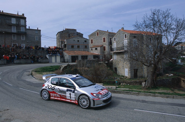 2002 World Rally ChampionshipTour De Corse, Corsica. 8th - 10th March 2002.Richard Burns / Robert Reid, Peugeot 206 WRC, action.World Copyright: McKlein/LAT Photographicref: 35mm Image 02 WRC 08