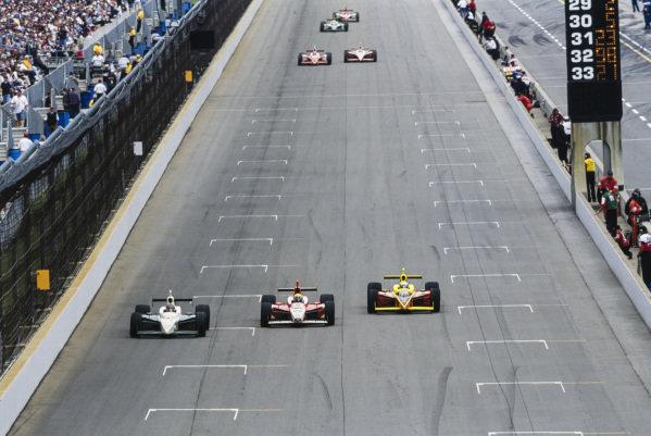 A. J. Foyt IV, A. J. Foyt Enterprises, Dallara IR-03 Toyota, battles with Dan Wheldon, Andretti Green Racing, Dallara IR-03 Honda, and Scott Sharp, Kelley Racing, Dallara IR-03 Toyota.
