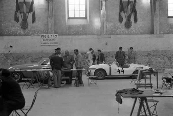 The Ferrari 195S Berlinetta Touring of Raymond Sommer / Dorino Serafini. (#25) and the Skoda 1101 Sport of Vaclav Bobek / Jaroslav Netusil (#44), line up during scrutineering.