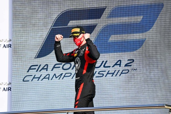 Nikita Mazepin (RUS, HITECH GRAND PRIX) celebrate on the podium