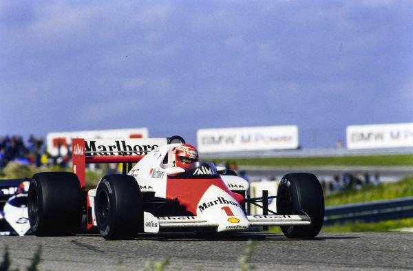 Niki Lauda, McLaren MP4-2B TAG, leads Marc Surer, Brabham BT54 BMW.