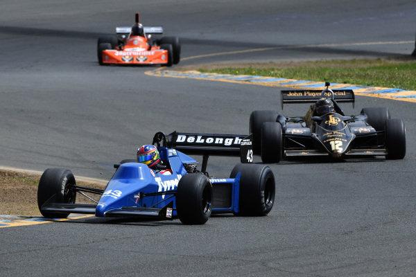 Romak Stephen 1985 Tyrrell 012 leads Gregory Thornton, Lotus 91, 1982
