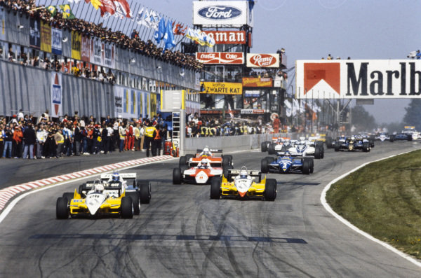 René Arnoux, Renault RE30B, leads Keke Rosberg, Williams FW08 Ford, and Alain Prost, Renault RE30B, at the start.