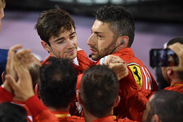 The Ferrari team celebrate with Charles Leclerc, Ferrari, 3rd position, in Parc Ferme