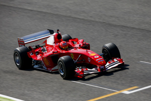 Mick Schumacher in his father's championship winning Ferrari F2004