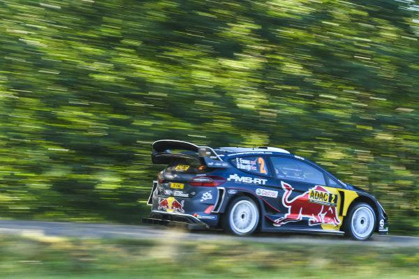 Elfyn Evans blasts his M-Sport Ford Fiesta past the close trees on Rallye Deutschland