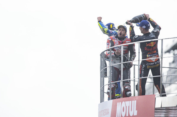 Podium: race winner Andrea Dovizioso, Ducati Team, second place Alex Rins, Team Suzuki MotoGP, third place Pol Espargaro, Red Bull KTM Factory Racing.