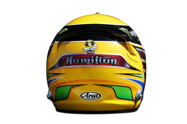 Albert Park, Melboune 14th March 2013 The helmet of Lewis Hamilton, Mercedes AMG. World Copyright: LAT Photographic ref: Digital Image DKAL8842