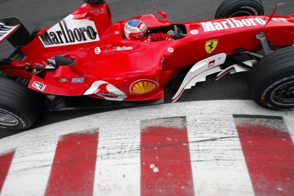 2004 Belgian Grand Prix - Friday Practice,Spa-Francorchamps, Belgium. 27th August 2004 Rubens Barrichello, Ferrari F2004, action.World Copyright: Steve Etherington/LAT Photographic ref: Digital Image Only