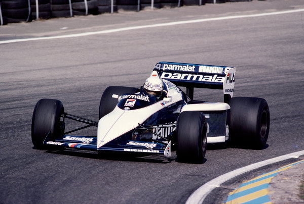 1983 Dutch Grand Prix.Zandvoort, Holland.26-28 August 1983.Riccardo Patrese (Brabham BT52B BMW) 9th position.Ref-83 HOL 34.World Copyright - LAT Photographic