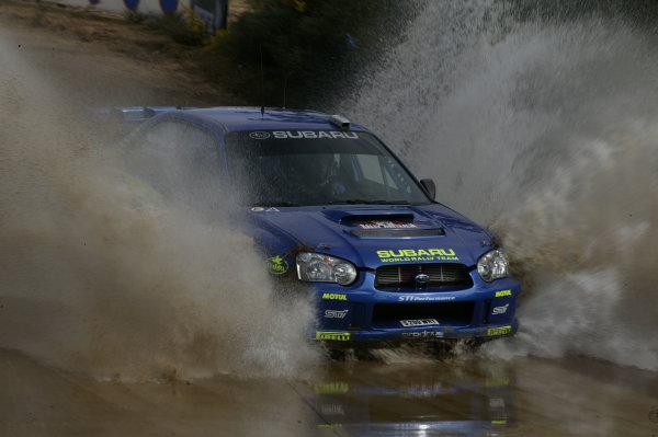 2003 FIA World Rally Champs. Round Ten Telstra Rally Australia 4th-7th September 2003.Tommi Makinen, Subaru, action.World Copyright: McKlein/LAT