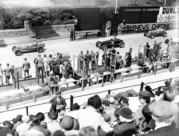 1936 RAC Light Car Race. May 28th 1936. 'B. Bira' - ERA R2B (finished 2nd) 16 Earl Howe - ERA R8B (retired) 9 Dick Seaman - Delage 15S8) 1st 14 Raymond Mays - ERA R4B (retired) World Copyright: LAT Photographic. Ref:C8862.