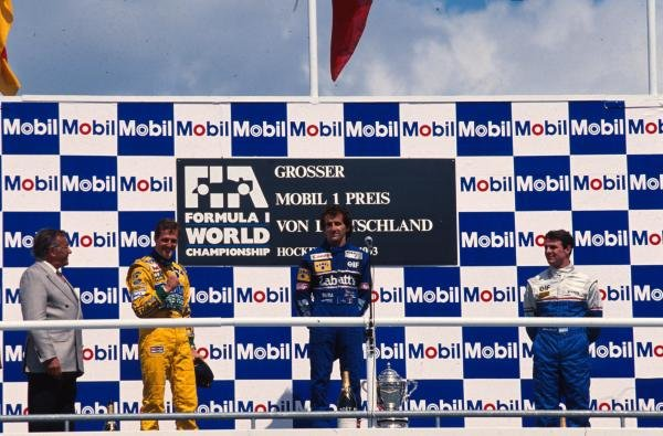 The podium (L to R): Michael Schumacher (GER) Benetton; Alain Prost (FRA) Williams win fifty-one; Mark Blundell (GBR) Ligier third. 
